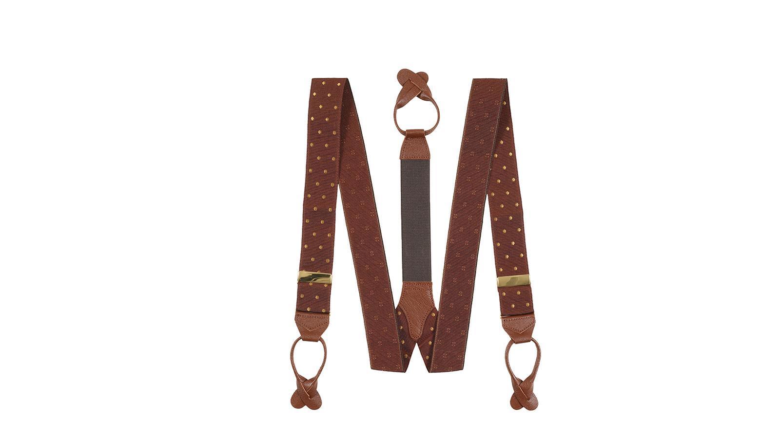 Brown & Gold Polka Dot Suspenders - slider image