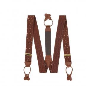 Brown & Gold Polka Dot Suspenders - thumbnail image 1