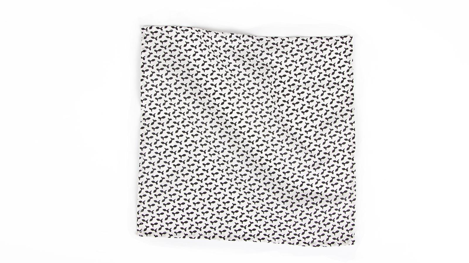 Black and White Patterned Pocket Square - slider image