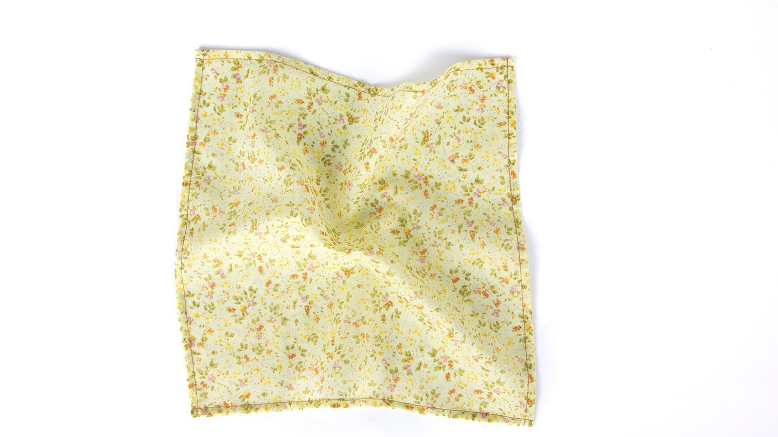 Yellow Floral Patterned Cotton Pocket Square - slider image