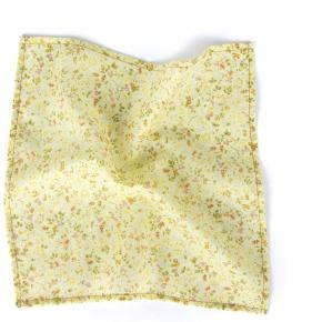 Yellow Floral Patterned Cotton Pocket Square - thumbnail image 1
