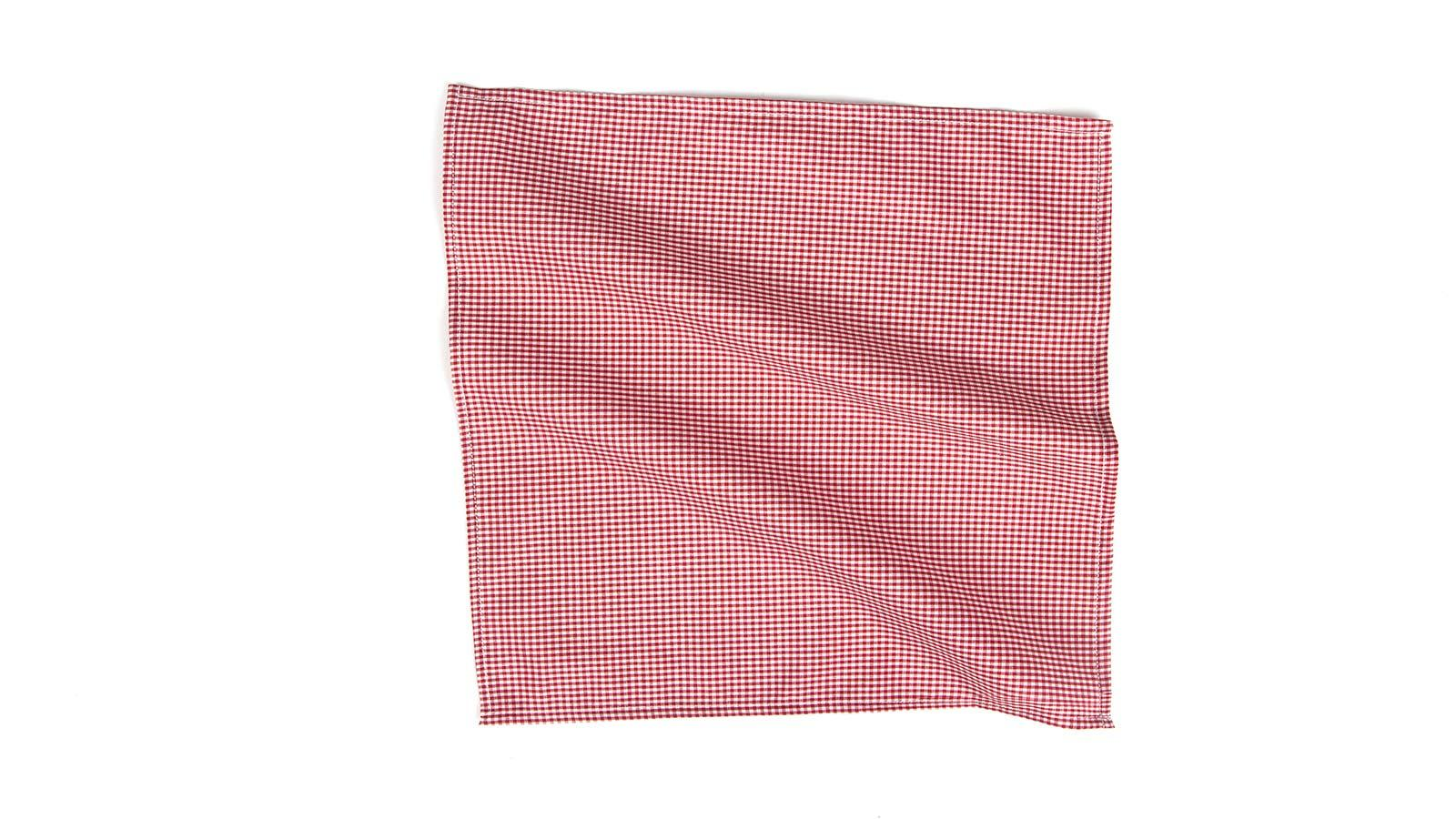Red Gingham Cotton Pocket Square - slider image