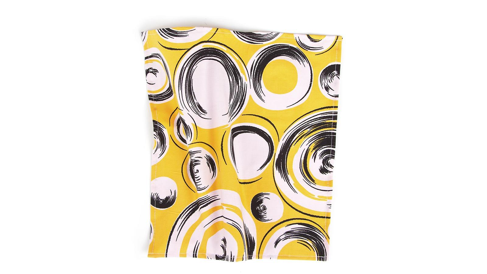 Yellow Pocket Square with Shapes Pattern - slider image