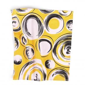 Yellow Pocket Square with Shapes Pattern - thumbnail image 1