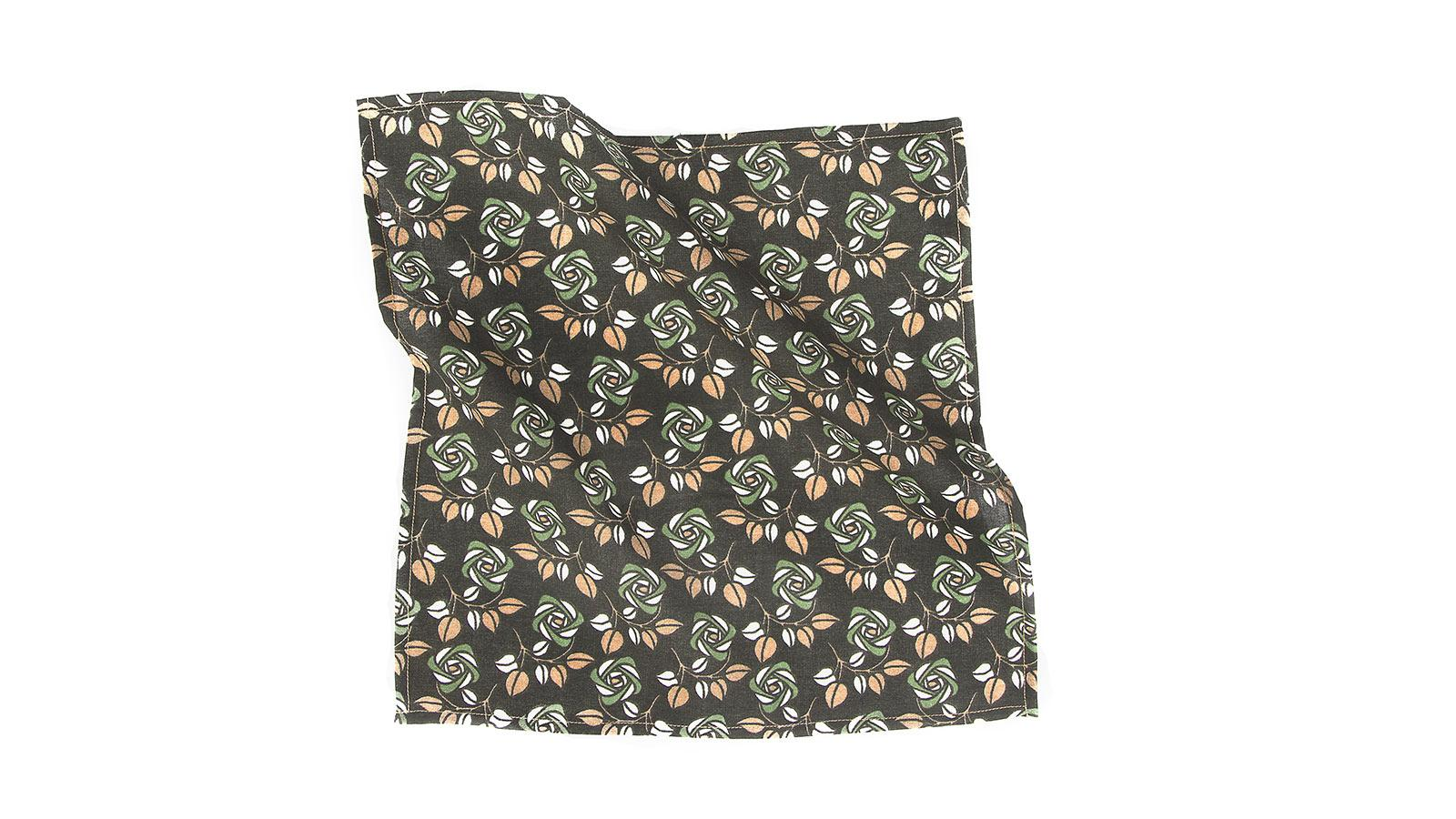 Green Flowers Cotton Pocket Square - slider image