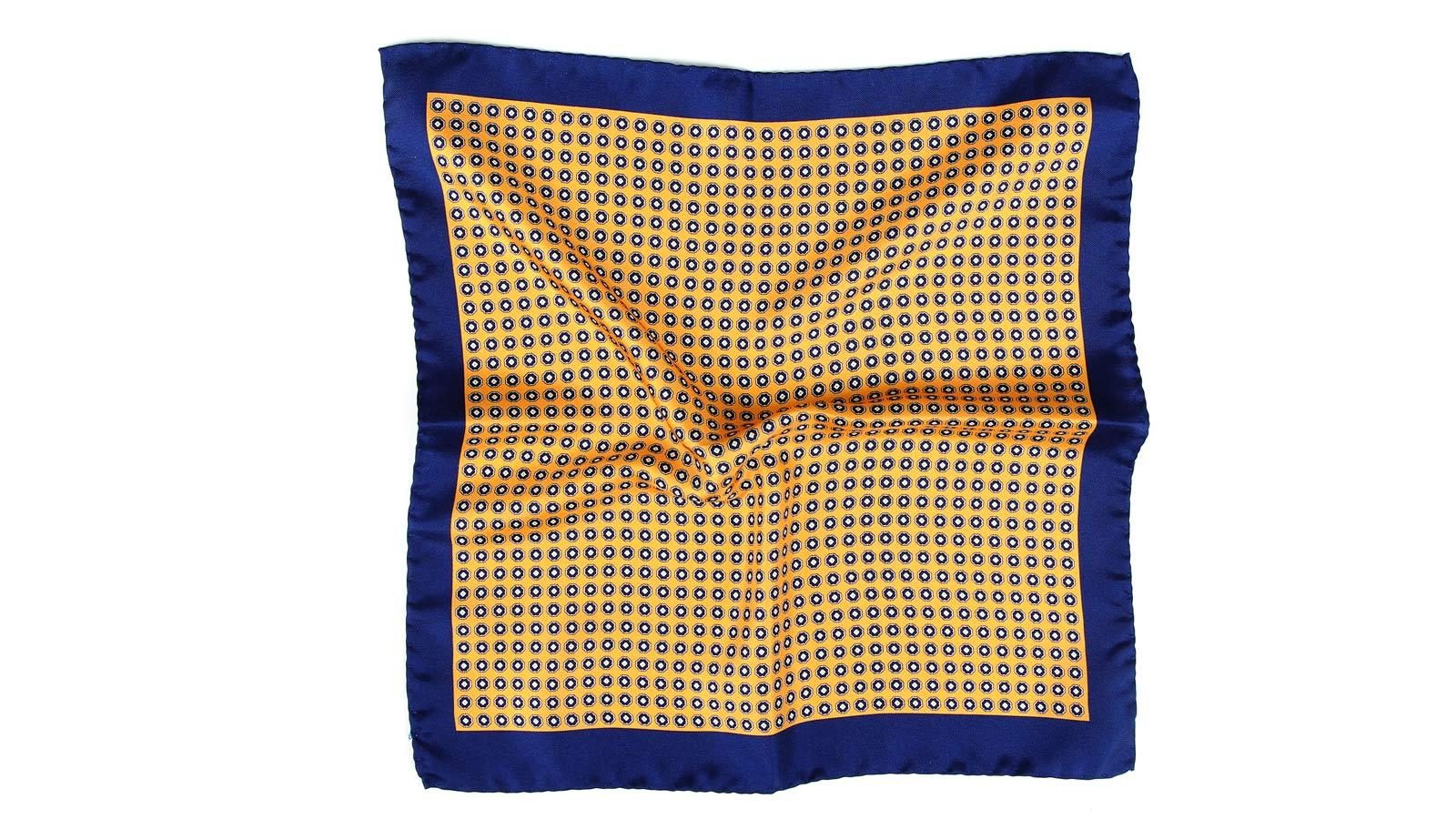 Navy & Yellow Silk Pocket Square - slider image