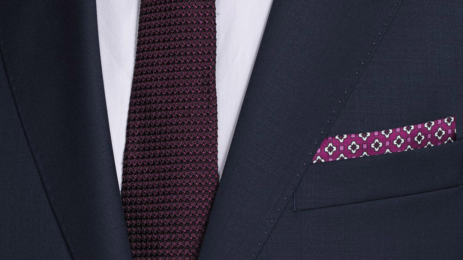 Suit in Navy Pick & Pick Wool - slider image 1