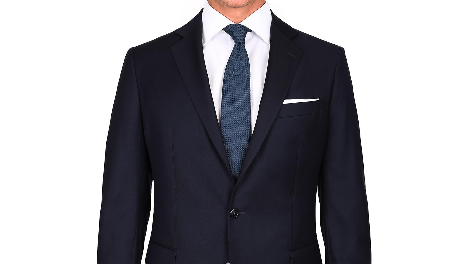 Suit in Solid Dark Navy Blue Wool - slider image 1