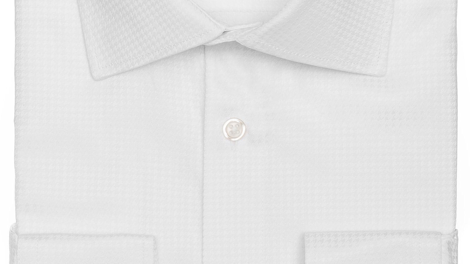 White Houndstooth Cotton Shirt - slider image