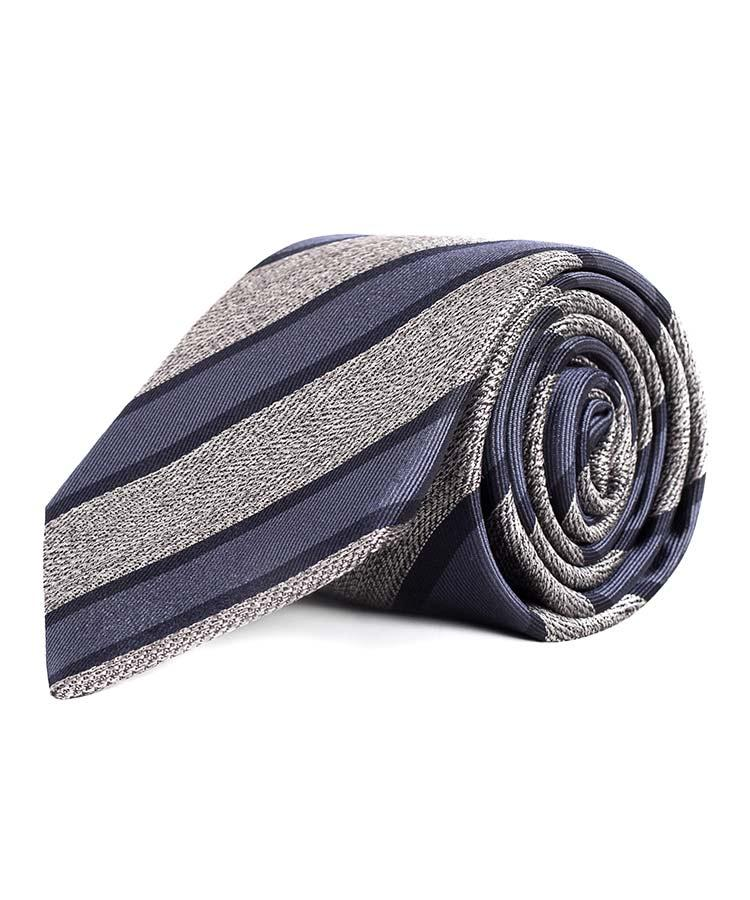 Navy & Grey Silk Tie - slider image