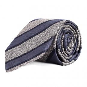 Navy & Grey Silk Tie - thumbnail image 1