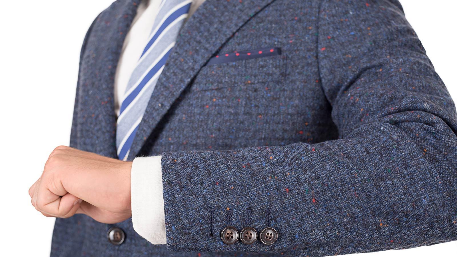 Suit in Blue Donegal Shadow Tweed - slider image 1