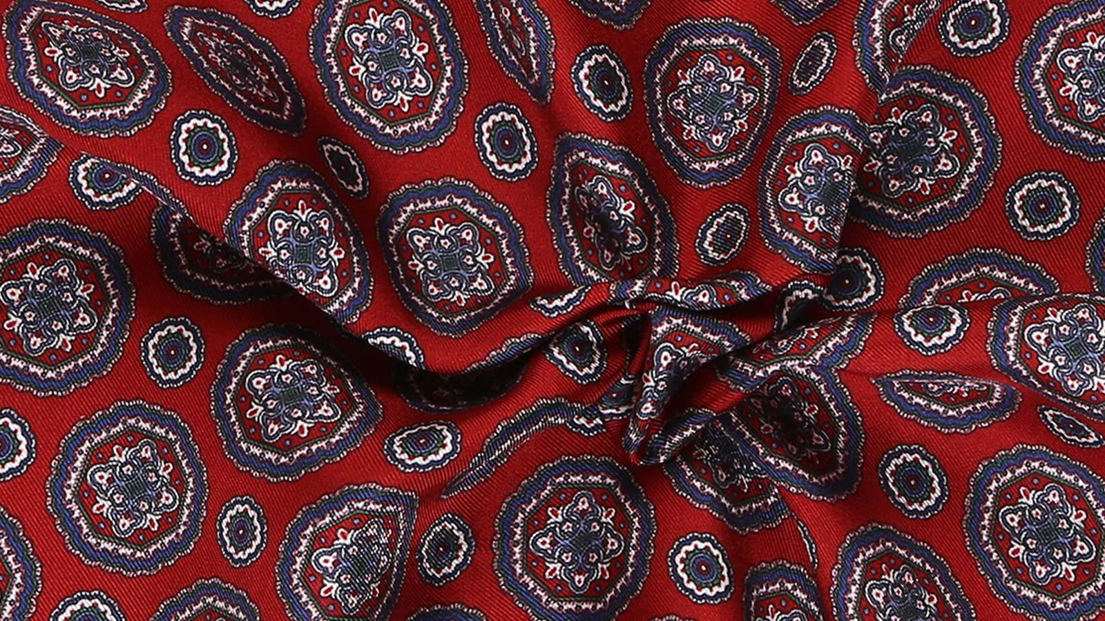 Red & Blue Shapes Italian 100% Silk Pocket Square - slider image