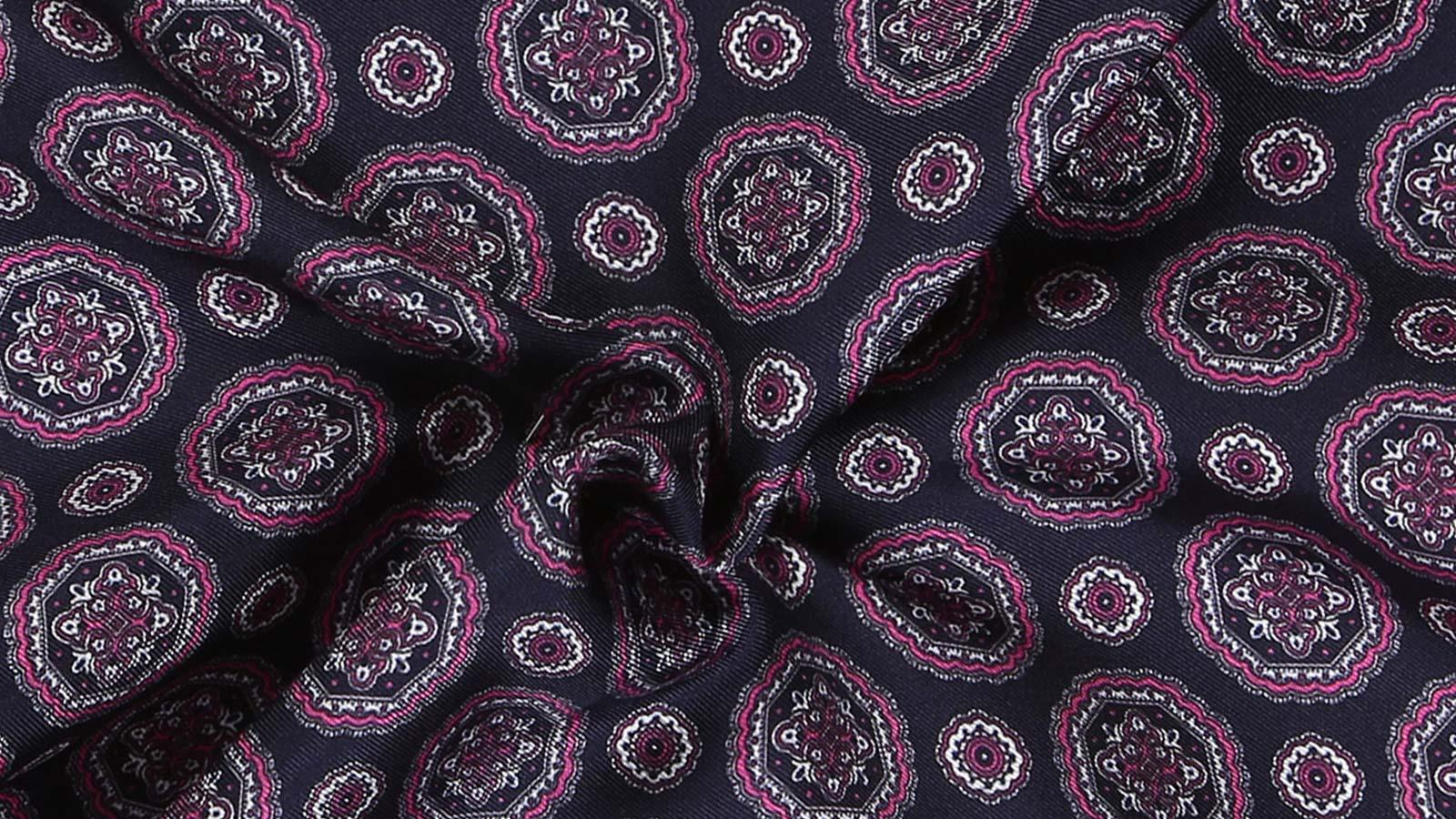 Navy & Pink Shapes Italian 100% Silk Pocket Square - slider image