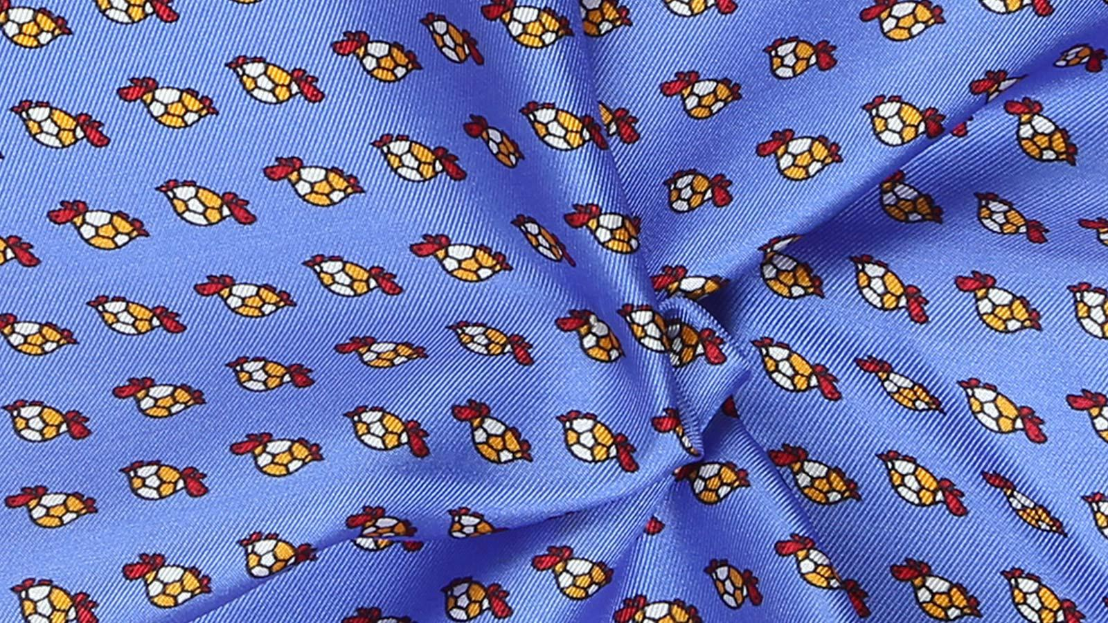 Blue, Brick Red & Yellow Turtle Print Pocket Square - slider image