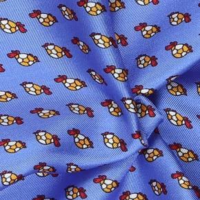 Blue, Brick Red & Yellow Turtle Print Pocket Square - thumbnail image 1