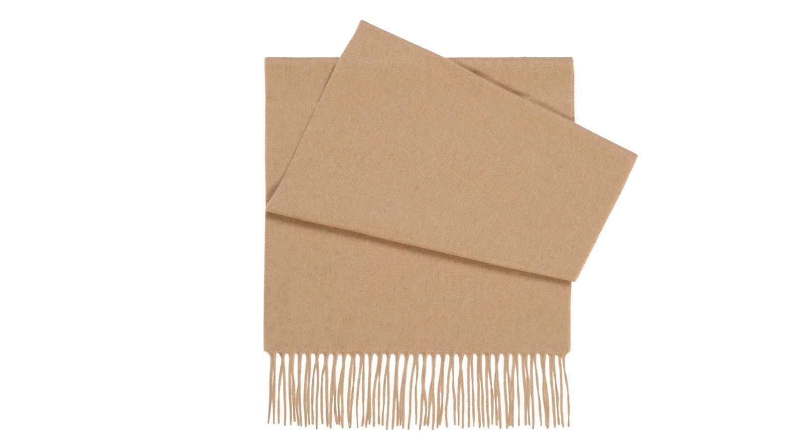 Solid Beige Cashmere Scarf - slider image
