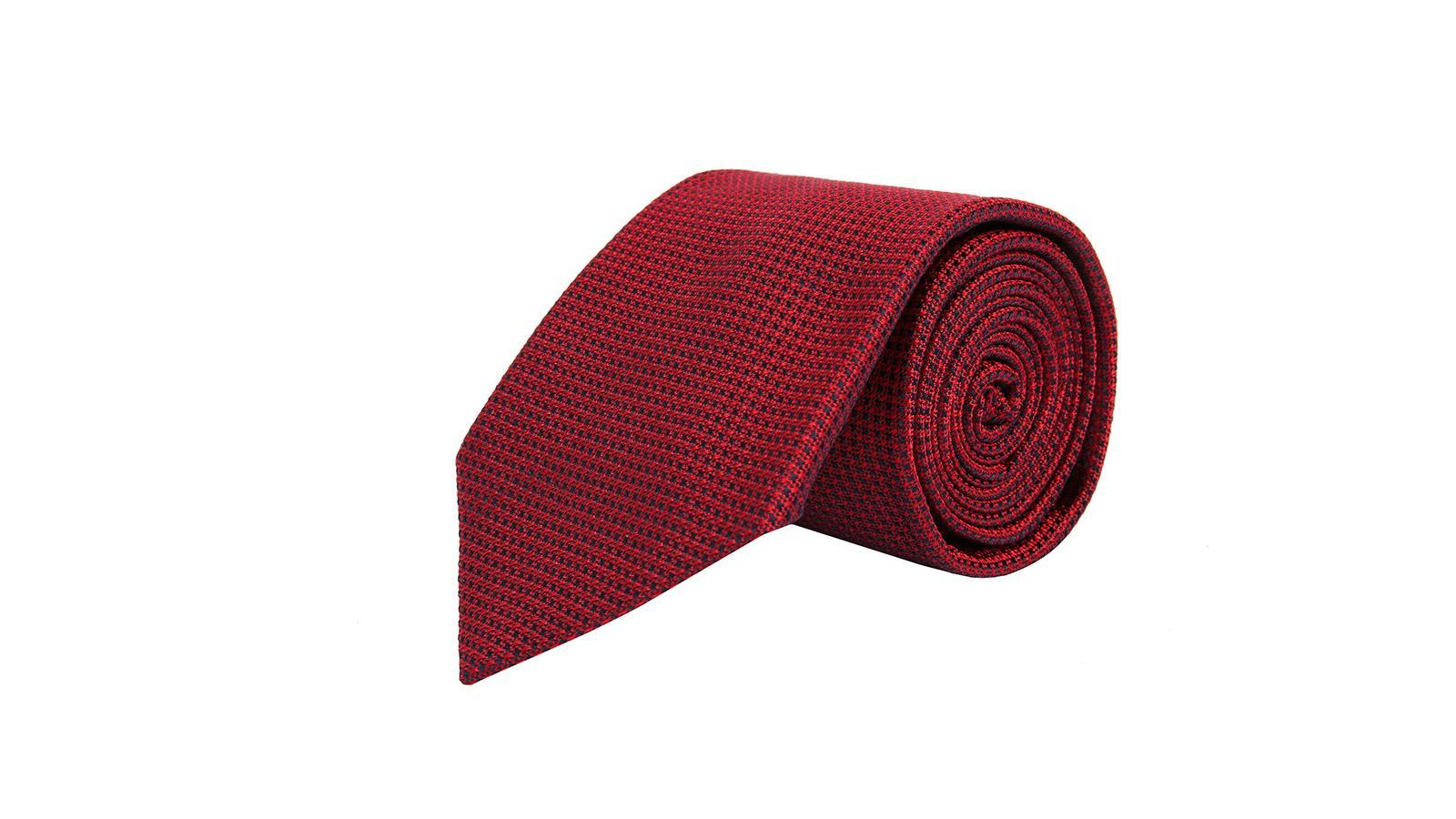 Red Hopsack Silk Tie - slider image