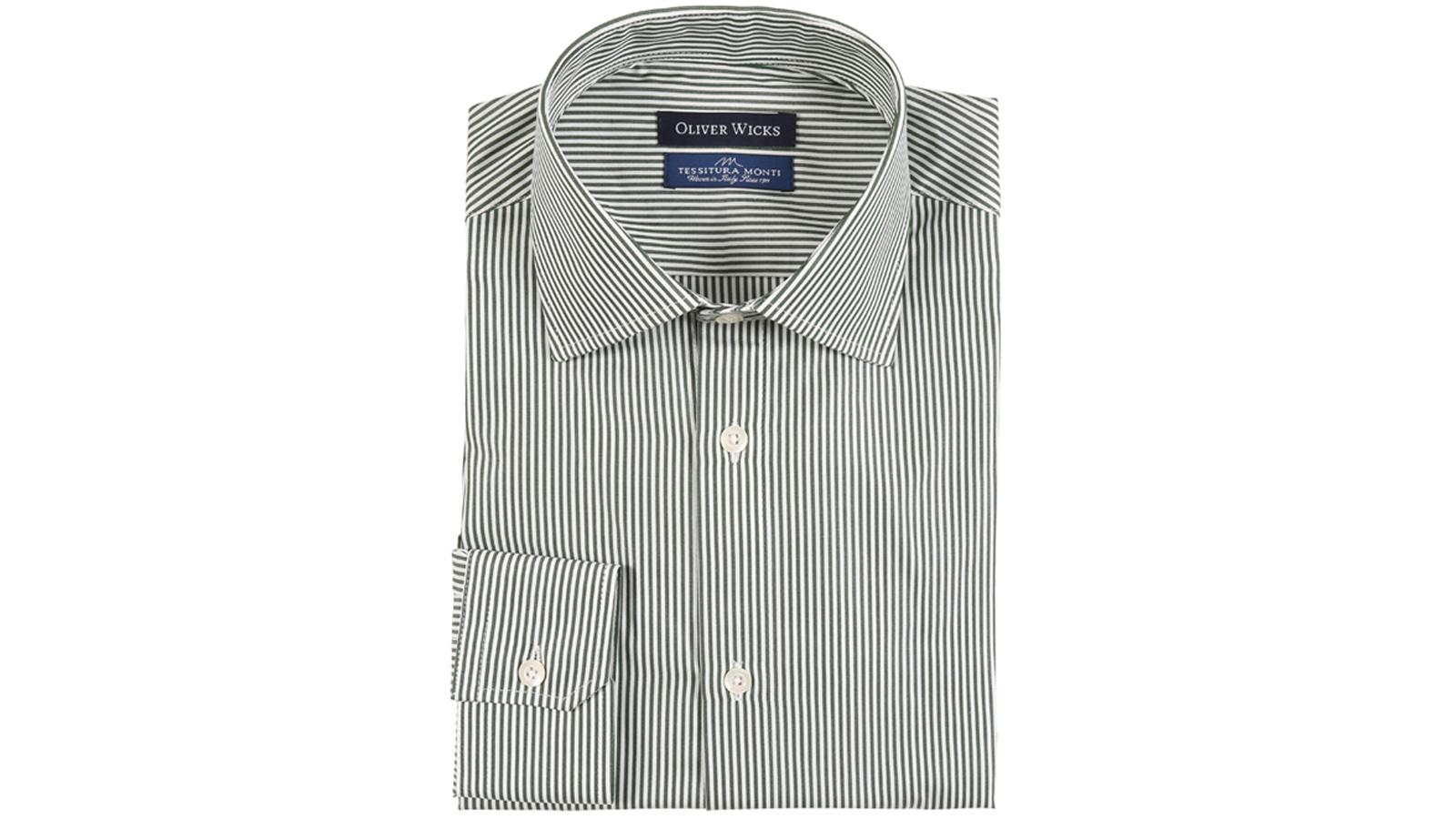 Green Striped Pinpoint Cotton Shirt - slider image