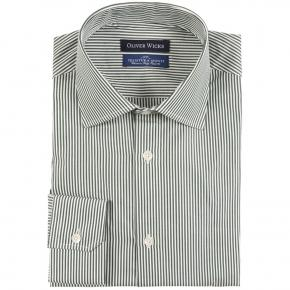 Green Striped Pinpoint Cotton Shirt - thumbnail image 1