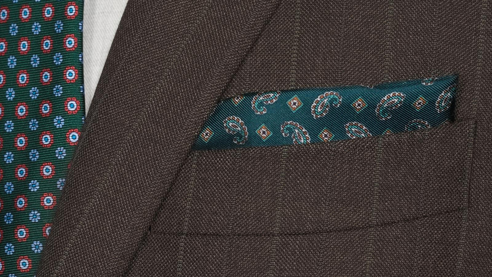 Traditionally Worsted Green Stripe Brown Suit - slider image 1