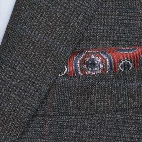 Charcoal Plaid with Red Overcheck Mouline Suit - thumbnail image 1