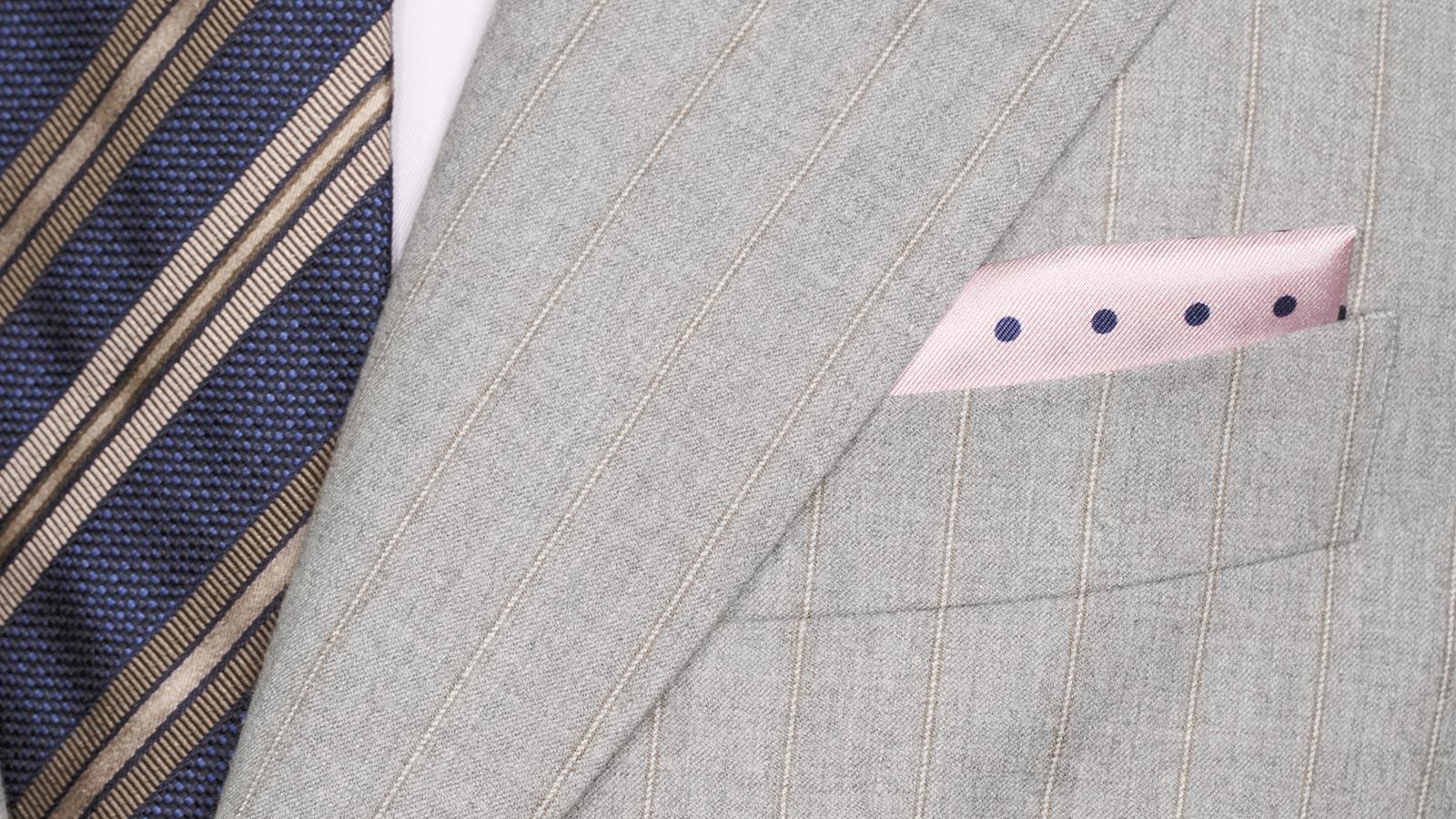 Sartorial Mustard Stripe Light Grey 160s Suit - slider image 1