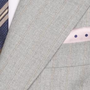 Sartorial Mustard Stripe Light Grey 160s Suit - thumbnail image 1