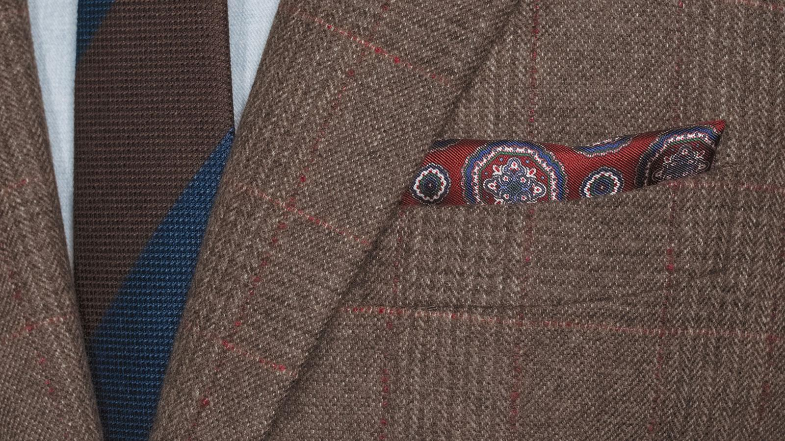 Brown Plaid with Red Overcheck Wool & Cashmere Blazer - slider image 1