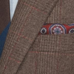 Brown Plaid with Red Overcheck Wool & Cashmere Blazer - thumbnail image 1