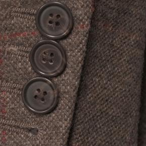 Brown Plaid with Red Overcheck Wool & Cashmere Blazer - thumbnail image 2