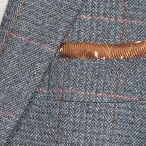 Steel Blue Plaid with Red Overcheck Wool & Cashmere Blazer - thumbnail image 1