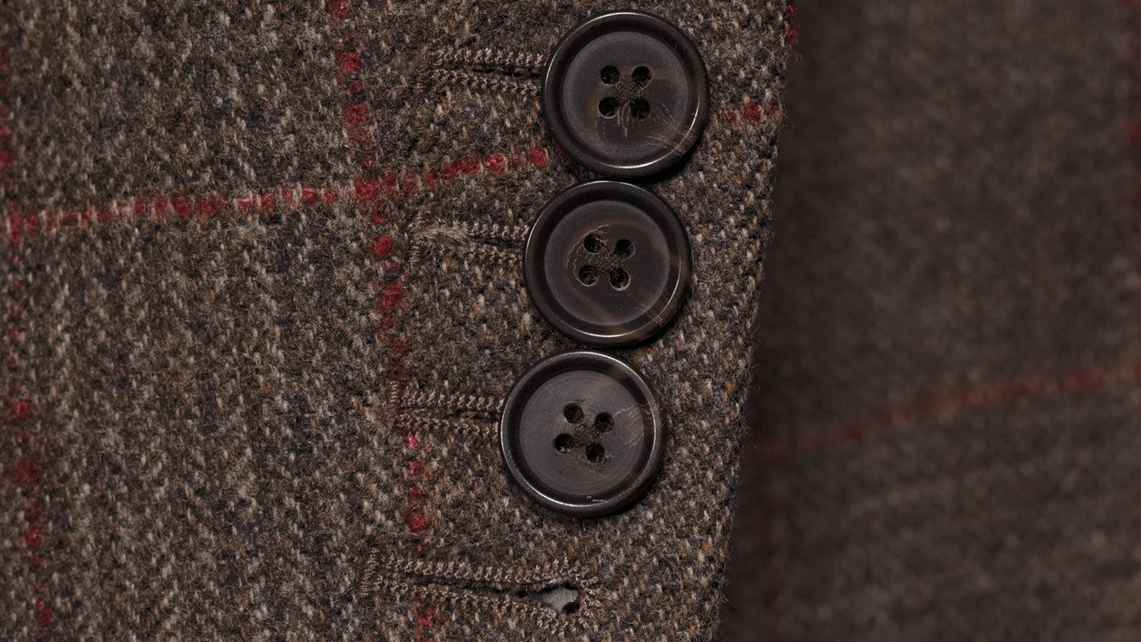 Brown Plaid with Red Overcheck Wool & Cashmere Suit - slider image 1