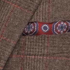 Brown Plaid with Red Overcheck Wool & Cashmere Suit - thumbnail image 2