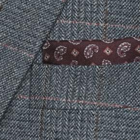 Steel Blue Plaid with Red Overcheck Wool & Cashmere Suit - thumbnail image 1