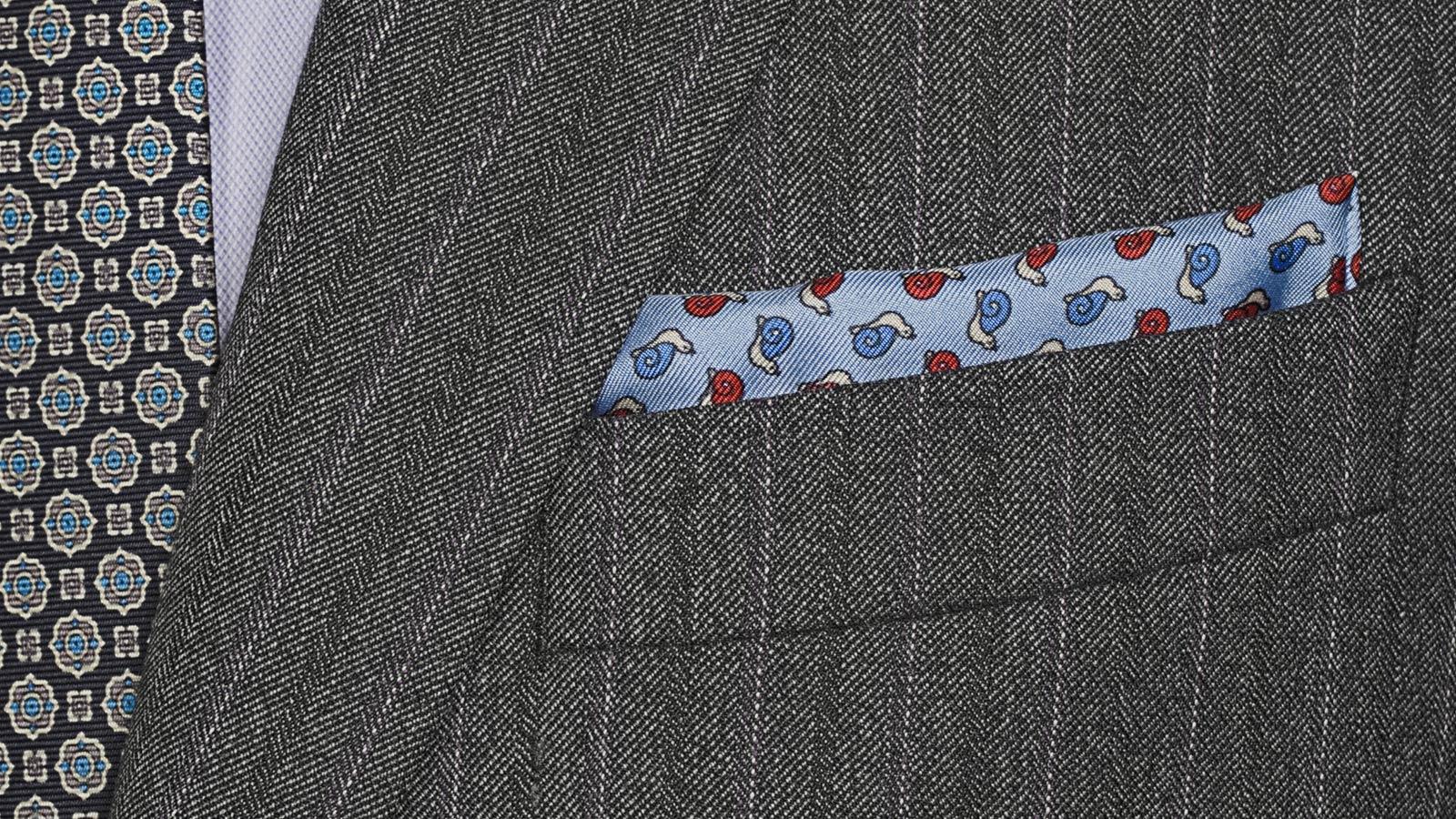 Lavender Stripe Grey Mouline Suit - slider image 1