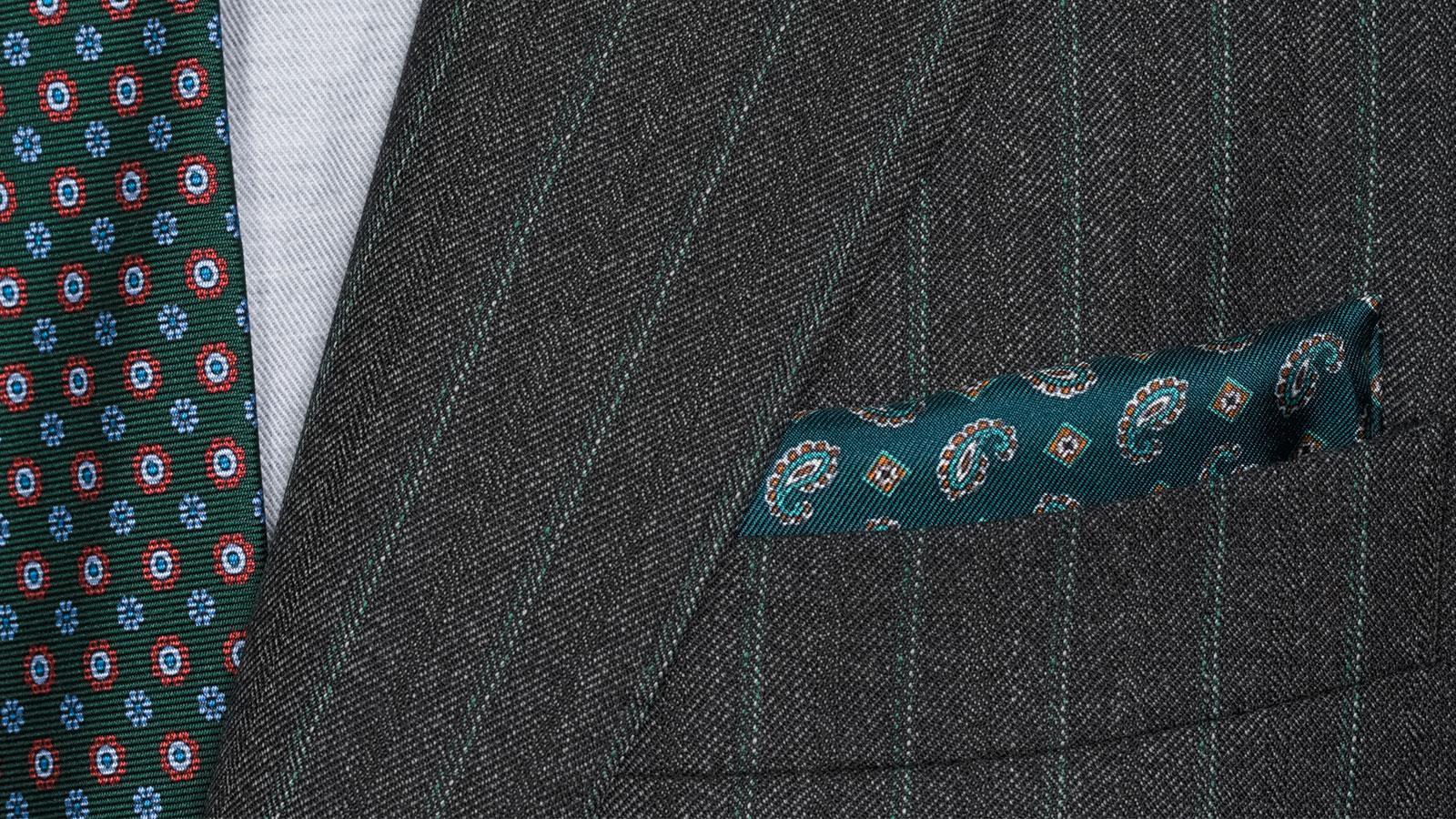 Green Stripe Charcoal Mouline Suit - slider image 1