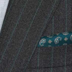 Green Stripe Charcoal Mouline Suit - thumbnail image 1