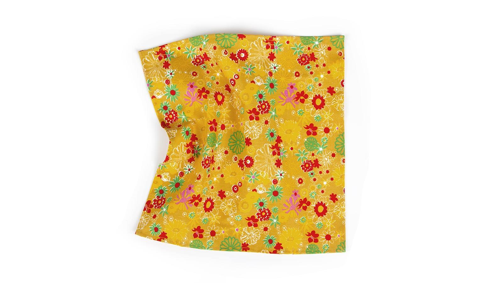 Mustard Pocket Square with Flower Pattern - slider image