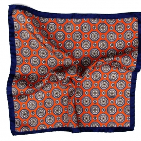 Navy & Copper Shapes Italian 100% Silk Pocket Square - thumbnail image 1
