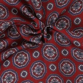 Navy & Red Shapes Italian 100% Silk Pocket Square - thumbnail image 1