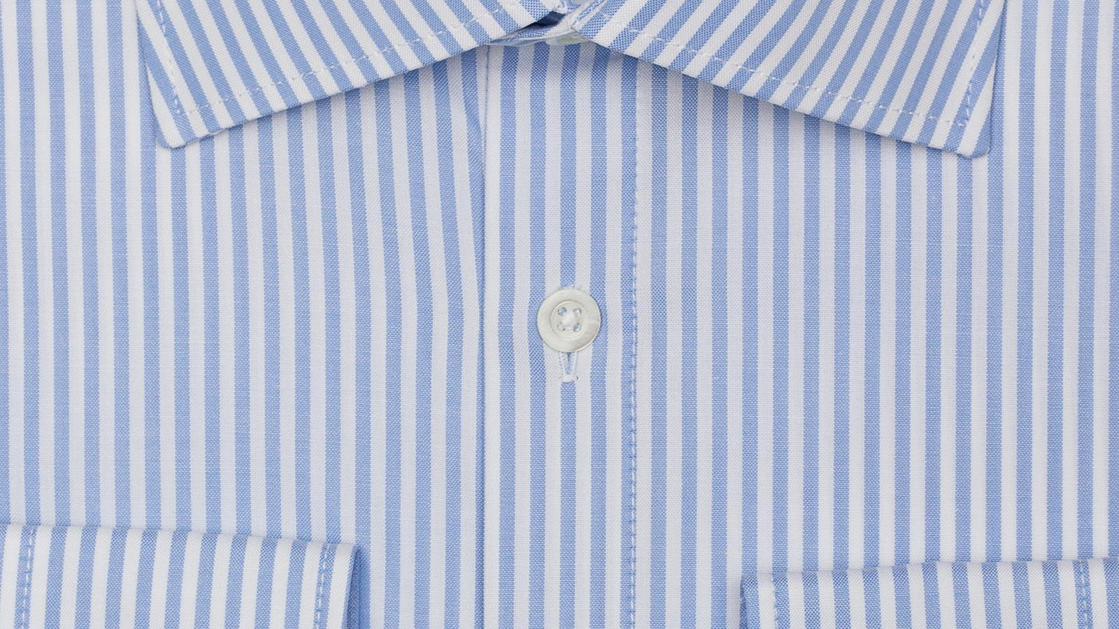 Light Blue Striped Pinpoint Oxford Shirt - slider image