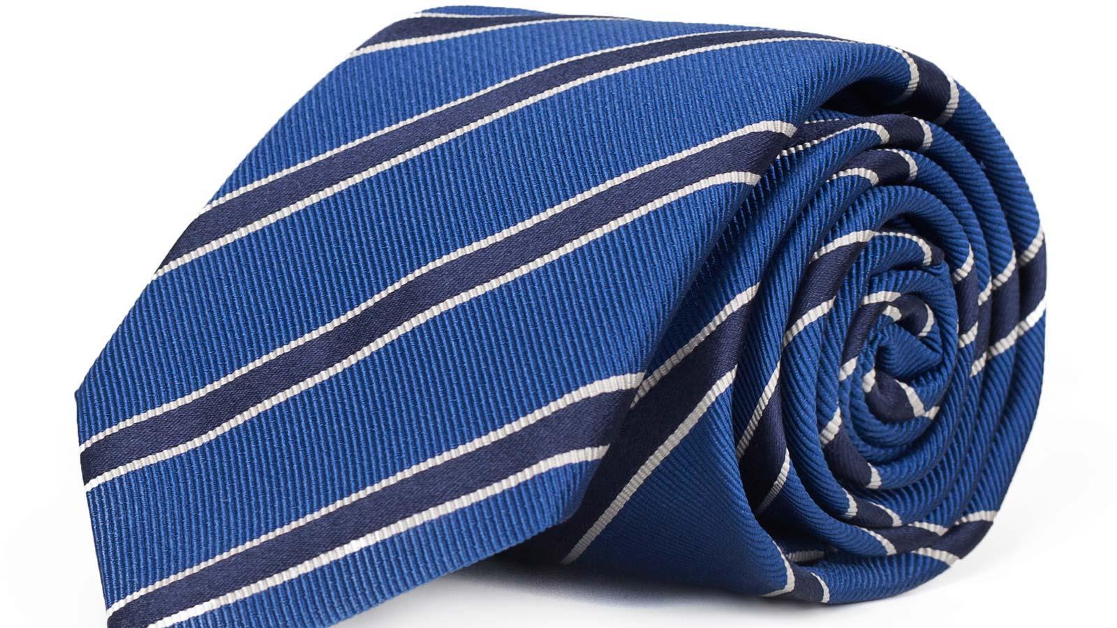 Navy Striped Blue Mogador Silk Tie - slider image