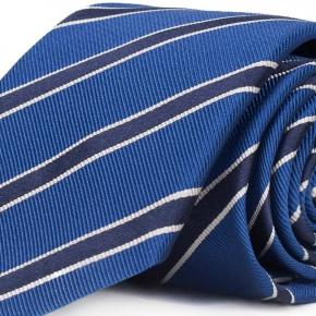 Navy Striped Blue Mogador Silk Tie - thumbnail image 1