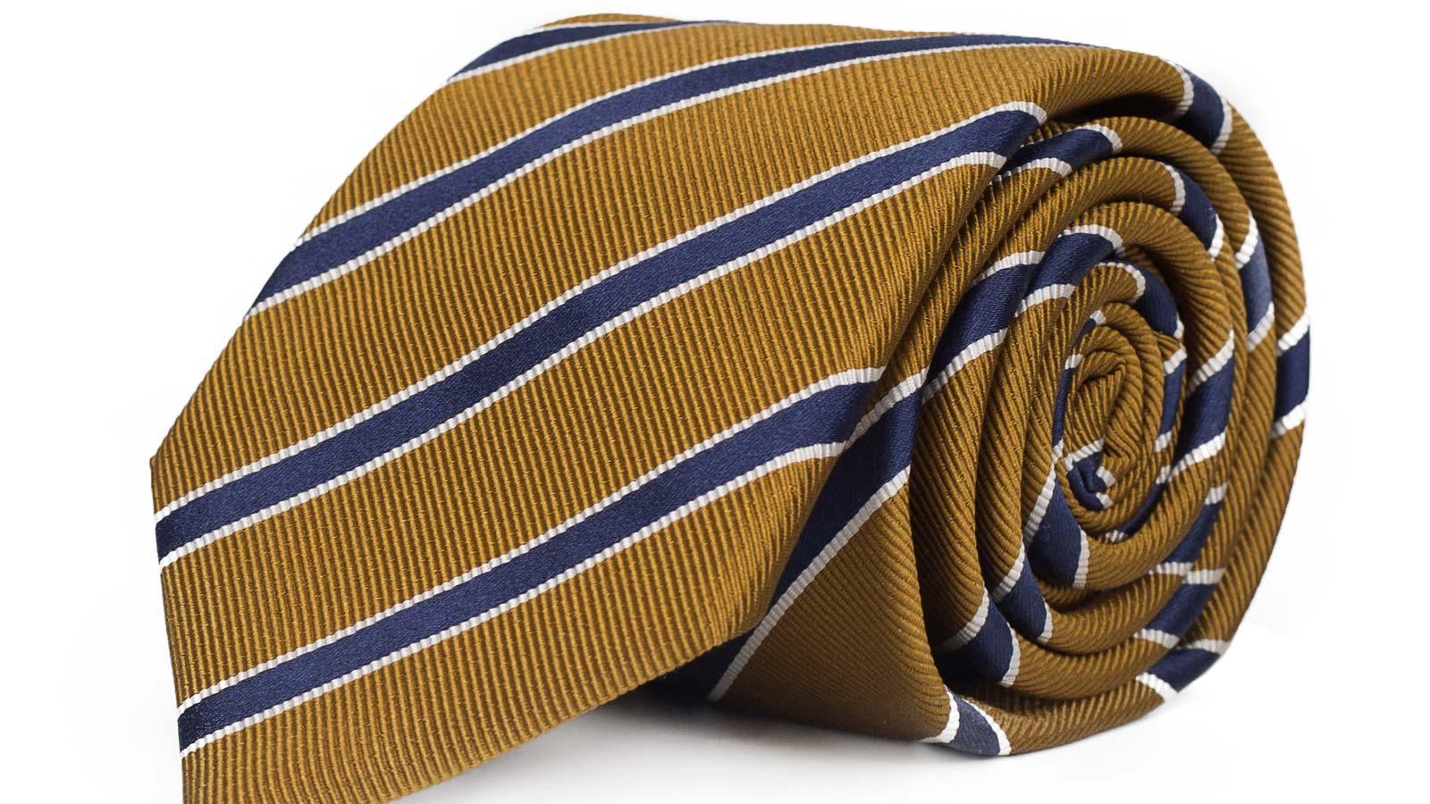 Navy Striped Mustard Mogador Silk Tie - slider image