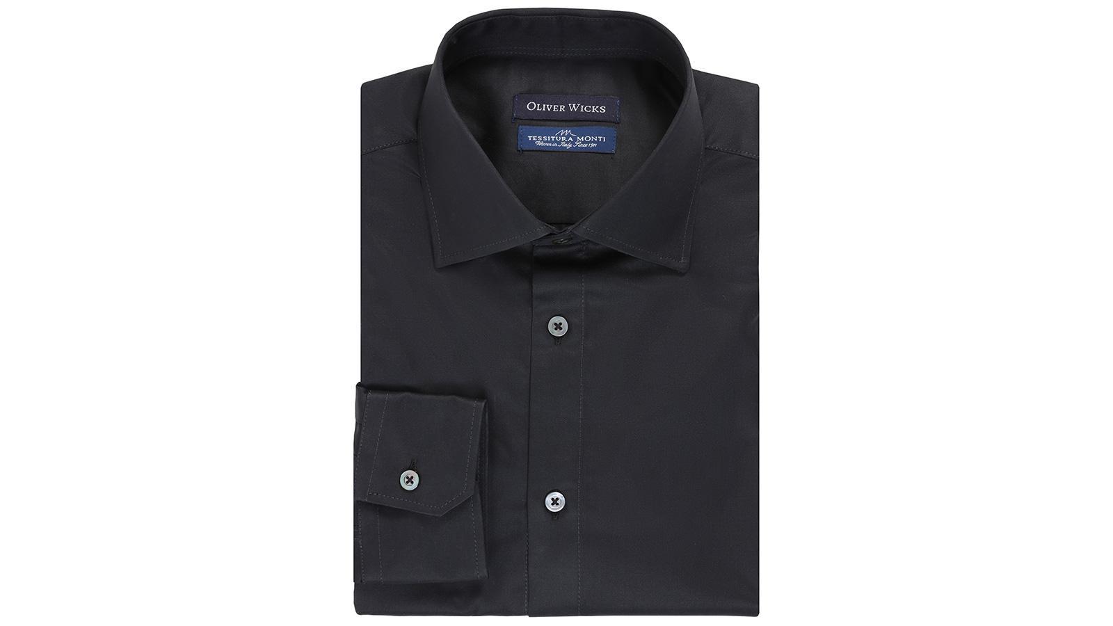 Black Two-Ply Cotton Twill Shirt - slider image