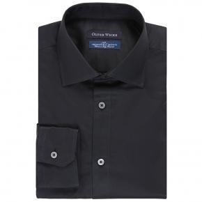 Black Two-Ply Cotton Twill Shirt - thumbnail image 1