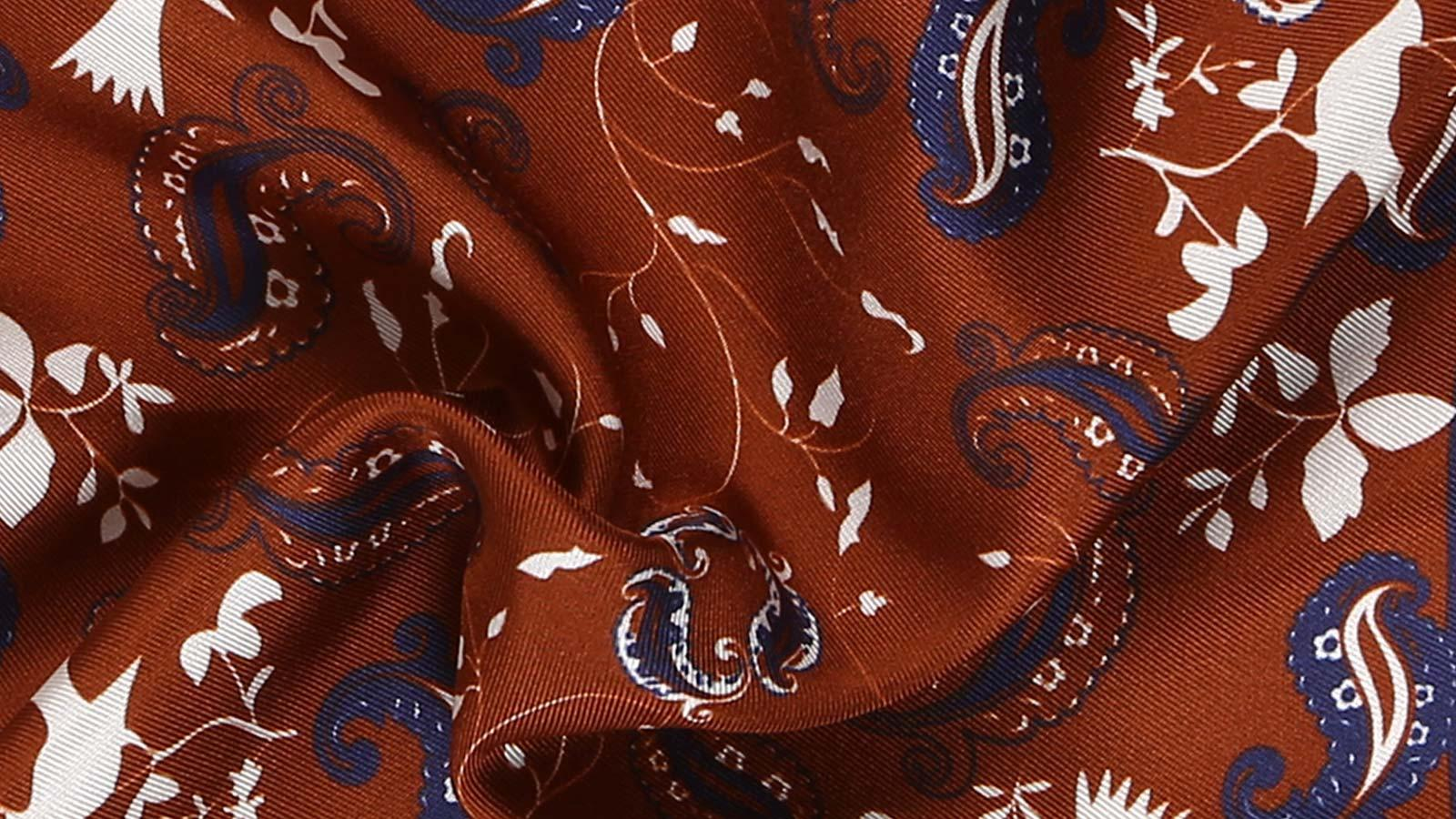 Gold & Chocolate Brown Patterned Italian 100% Silk Pocket Square - slider image 1