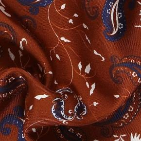 Gold & Chocolate Brown Patterned Italian 100% Silk Pocket Square - thumbnail image 1