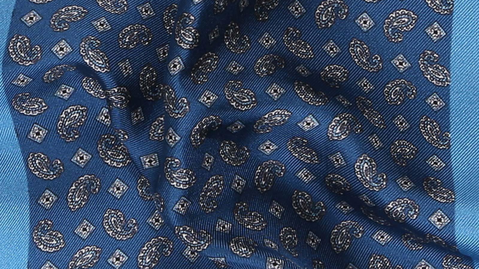 Steel Blue & Silver Italian 100% Silk Pocket Square - slider image 1